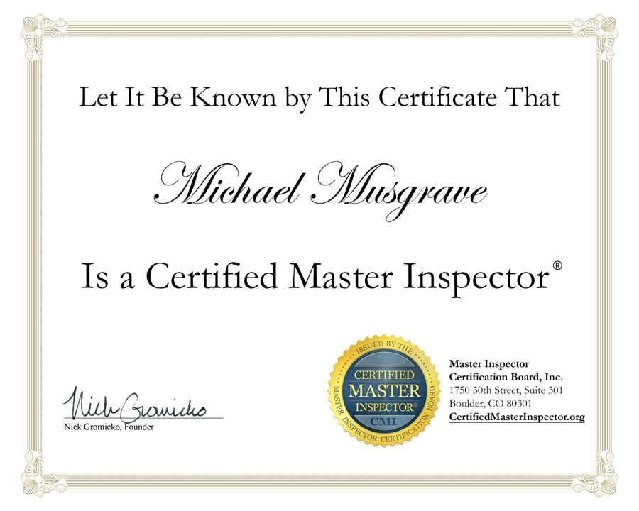 CMI Certificate - ALLIN Inspection Inspections