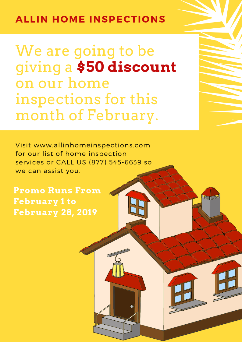 ALLIN Home Inspections February Promo 2019 $50 off