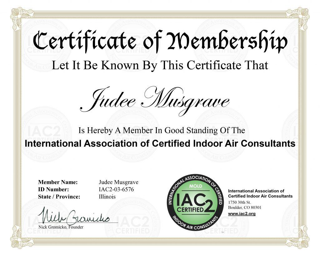 IAC2 Certificate | Judee Mustgrave | ALLIN Home Inspections